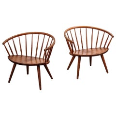 Pair of Yngve Ekström 'Arka' Oak Lounge Chairs, 1950s