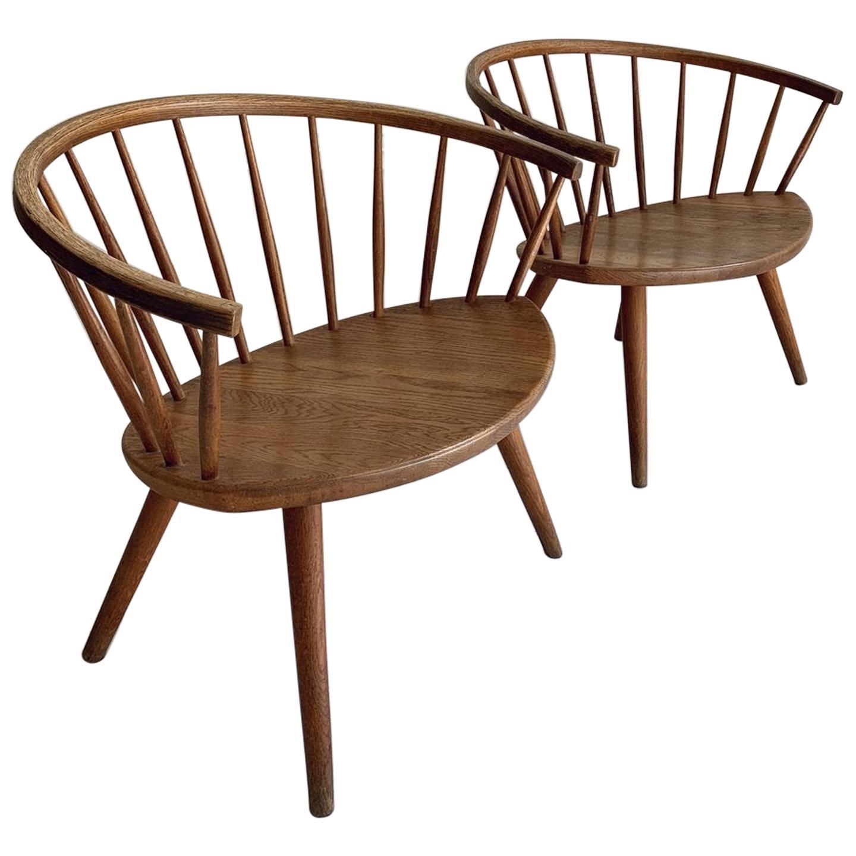 """Pair of Yngve Ekström """"Arka"""" Oak Lounge Chairs, 1950s"""