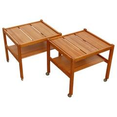 Pair of Yngve Ekstrom Pine Rolling Carts or Side Tables