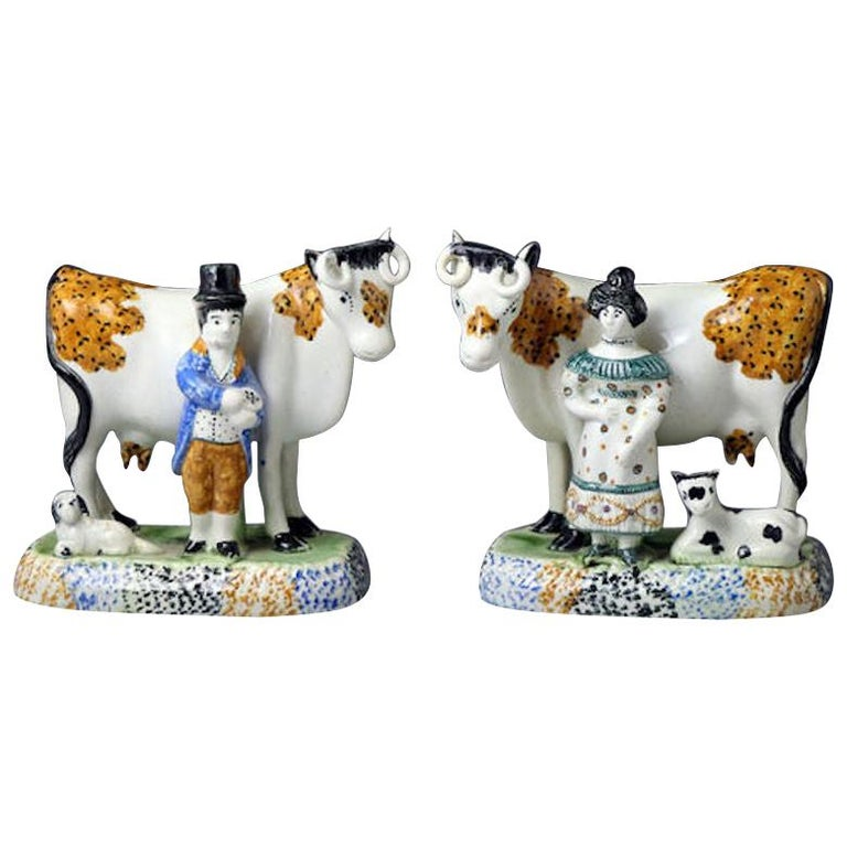 Pair of Yorkshire Pottery Figures of Cows Prattware, Early 19th Century For Sale