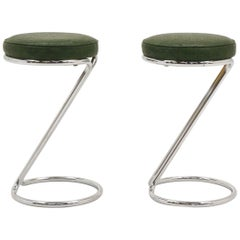 Pair of Z-Counter Height Barstools by Gilbert Rohde for Troy Sunshade Co. Signed