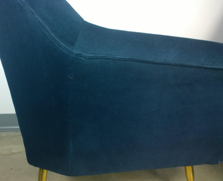 Pair of Zanuso Style Navy Blue Velvet and Brass Legs Lounge or Armchairs For Sale 11