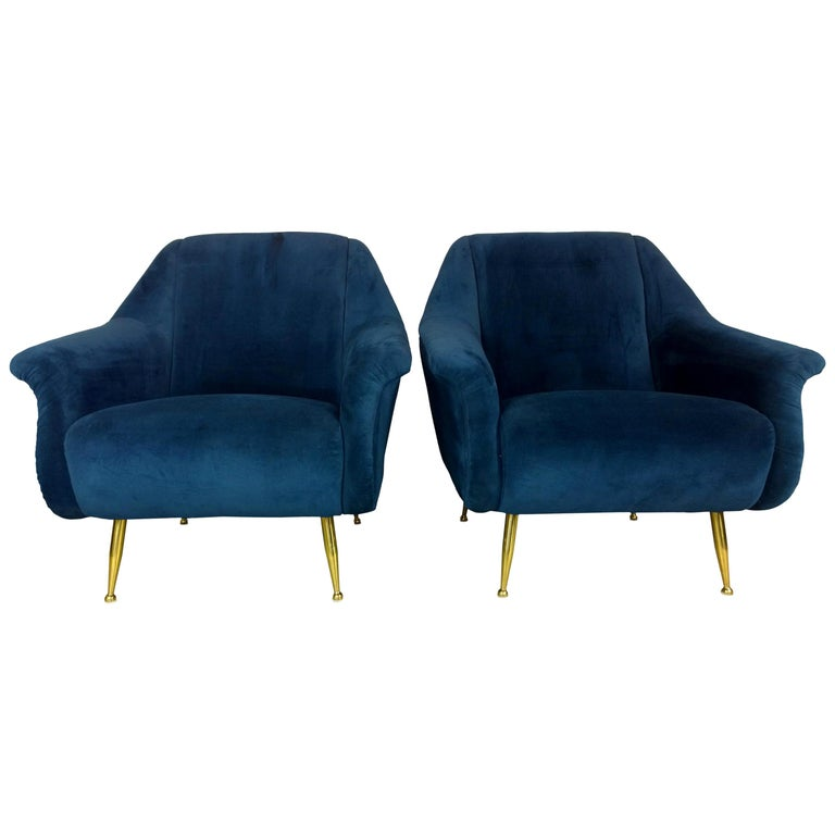 Pair of Zanuso Style Navy Blue Velvet and Brass Legs Lounge or Armchairs For Sale