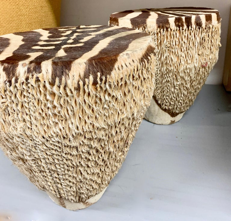 Pair of Zebra drum tables - handsome pair to compliment many rooms adding a textural or ethnic feel - well suited for light side or martini tables.