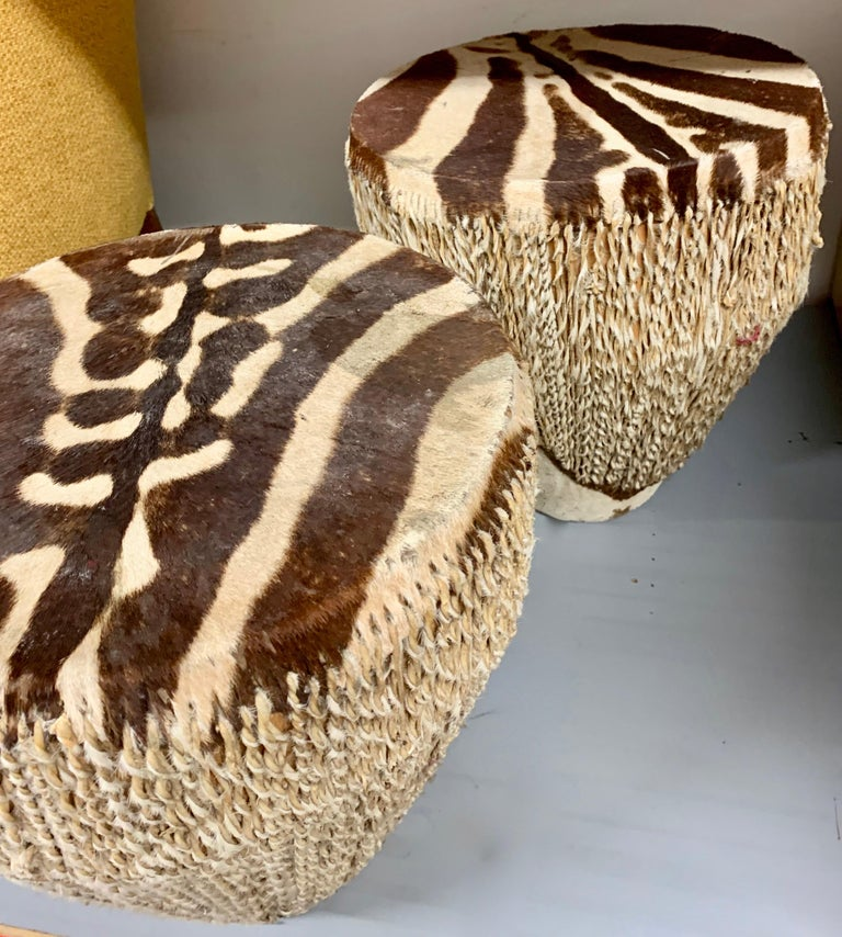 Pair of Zebra Drum Tables In Fair Condition For Sale In Los Angeles, CA