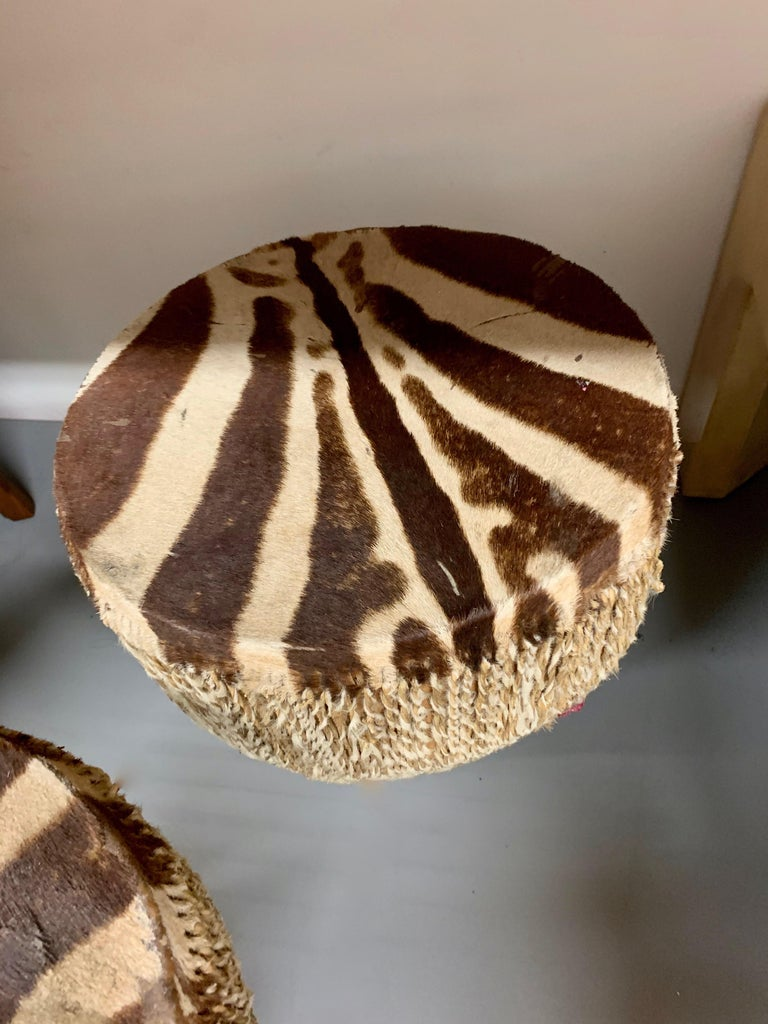 Pair of Zebra Drum Tables For Sale 1