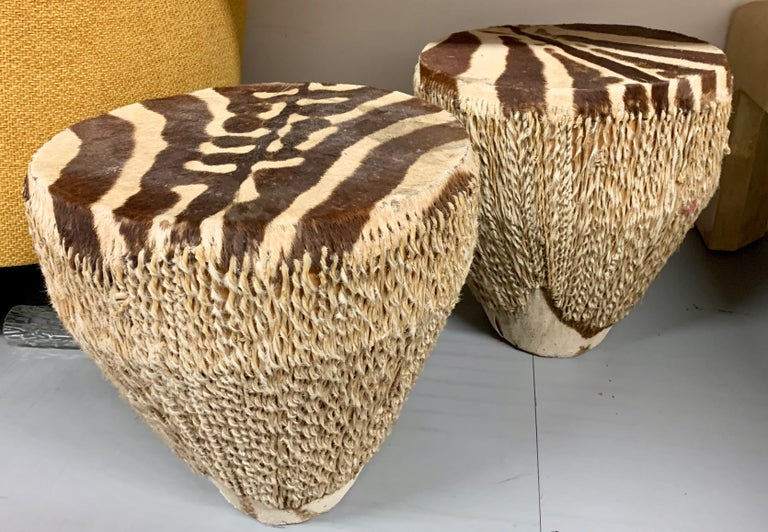 Pair of Zebra Drum Tables For Sale 3