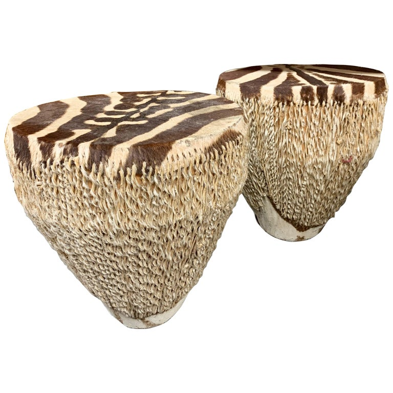 Pair of Zebra Drum Tables For Sale