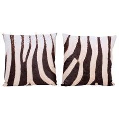 Pair of Zebra Hide Pillows