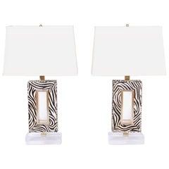 Pair of Zebra Print Table Lamps