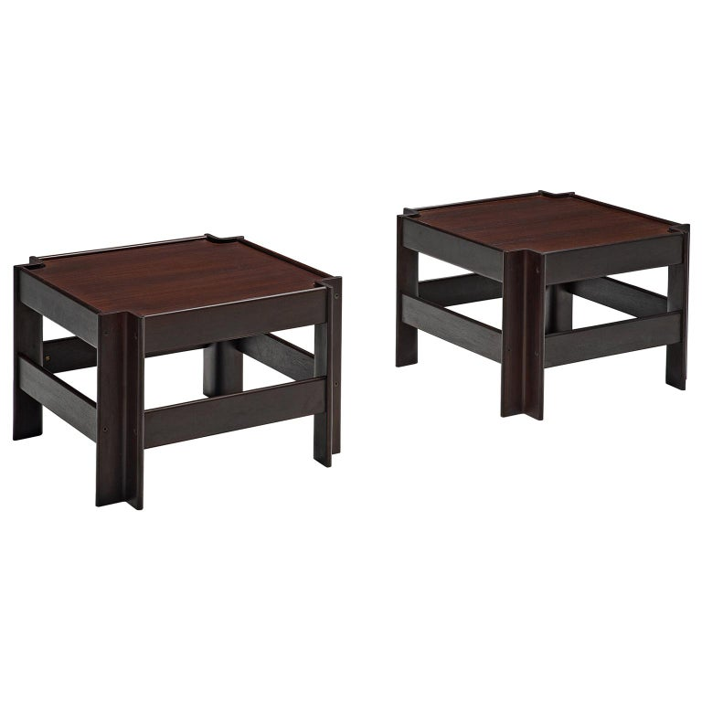 Pair of 'Zelda' Wooden Coffee Tables by Sergio Asti For Sale