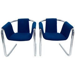 "Pair of ""Zermatt"" Tubular Chrome and Blue Wool Fabric Sling Armchairs by Vecta"