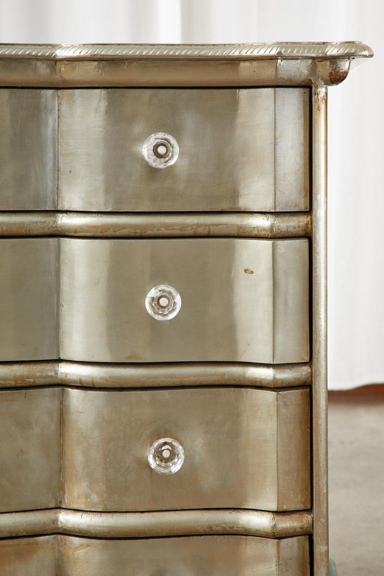 Pair of Zinc Metal Wrapped Commode Chests or Dressers For Sale 4