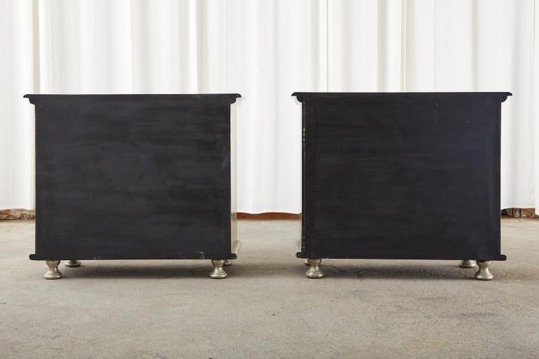 Pair of Zinc Metal Wrapped Commode Chests or Dressers For Sale 14
