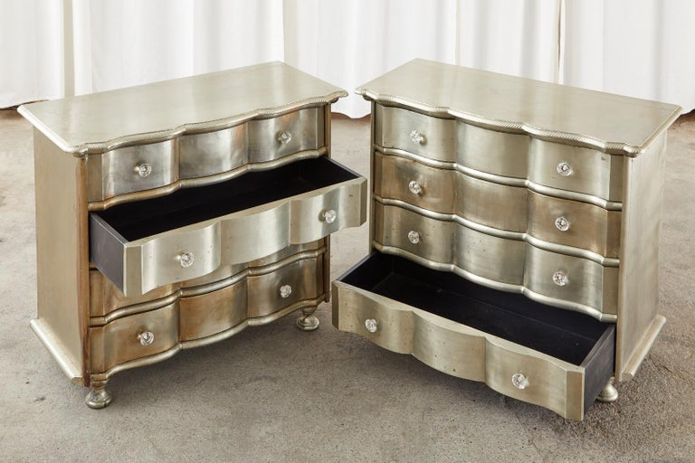Hollywood Regency Pair of Zinc Metal Wrapped Commode Chests or Dressers For Sale