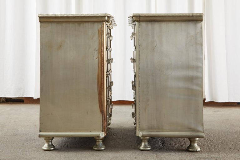 Polished Pair of Zinc Metal Wrapped Commode Chests or Dressers For Sale