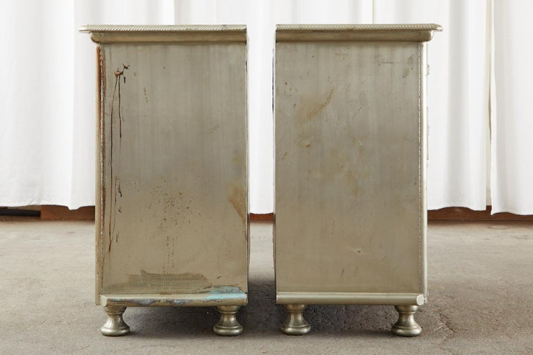 Pair of Zinc Metal Wrapped Commode Chests or Dressers In Distressed Condition For Sale In Rio Vista, CA