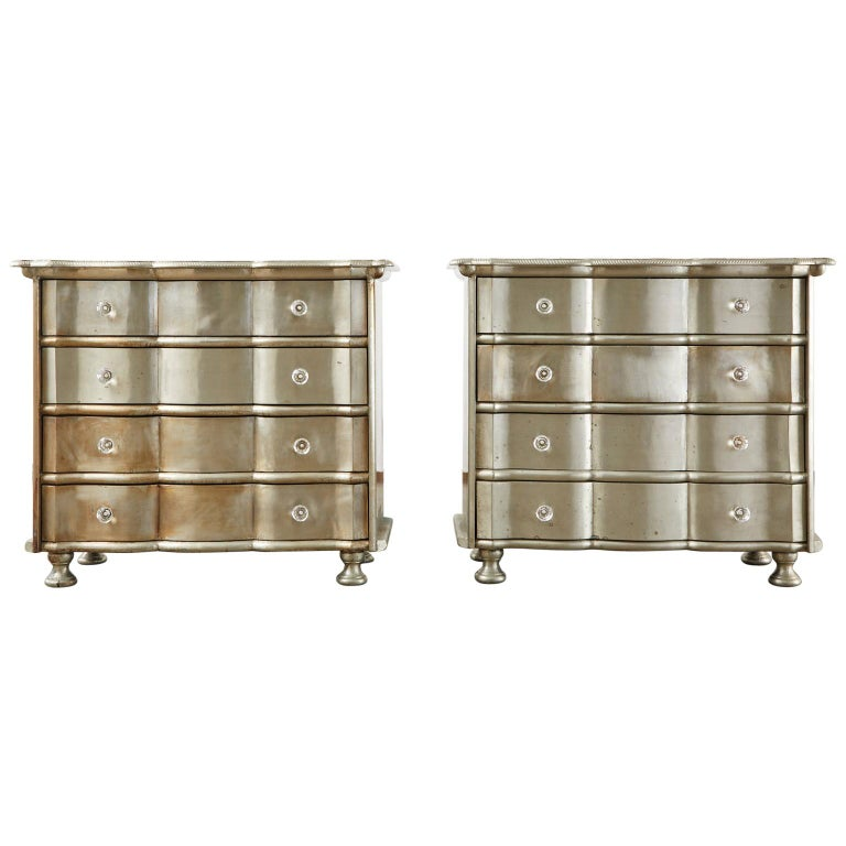 Pair of Zinc Metal Wrapped Commode Chests or Dressers For Sale