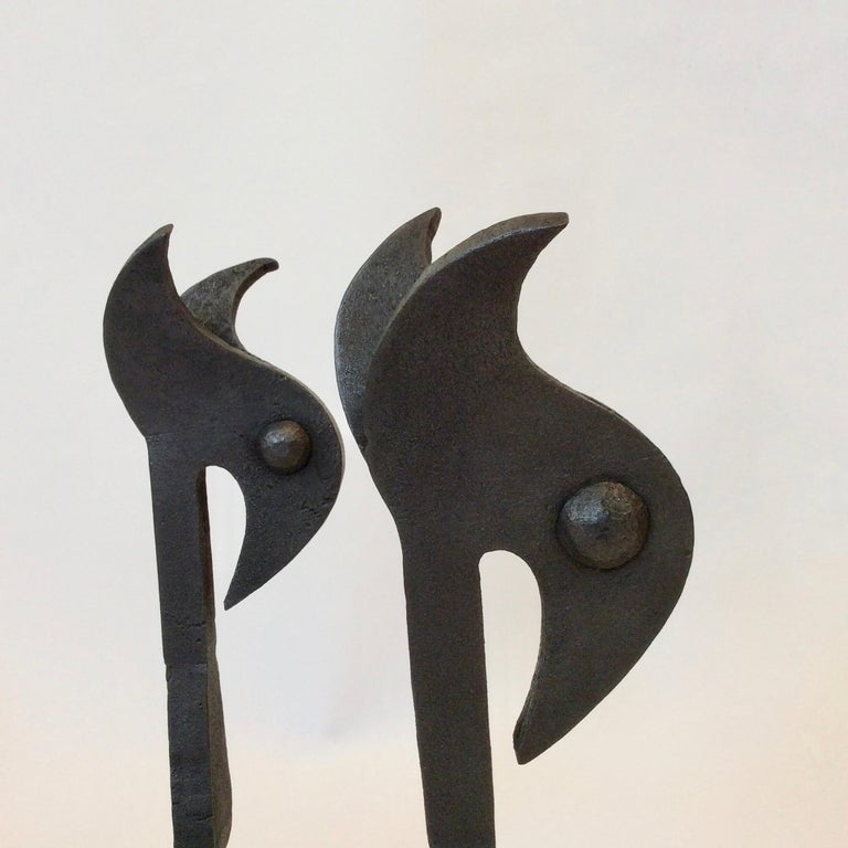Mid-Century Modern Pair of Zoomorphic Andirons, France, circa 1940 For Sale