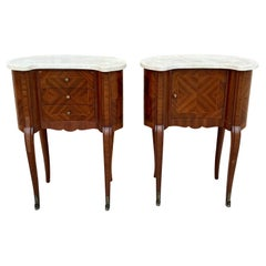 Pair of Antique French Bedside Kidney Tables with Marble Tops