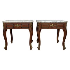 Pair of Louis XV Style Mahogany and Marble-Top Coffee Table with Bronze