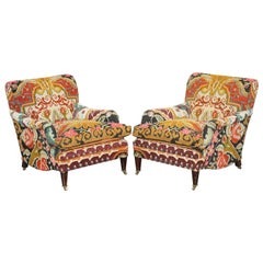 Pair of Rare Vintage George Smith Signature Scroll Arm Kilim Aztec Armchairs
