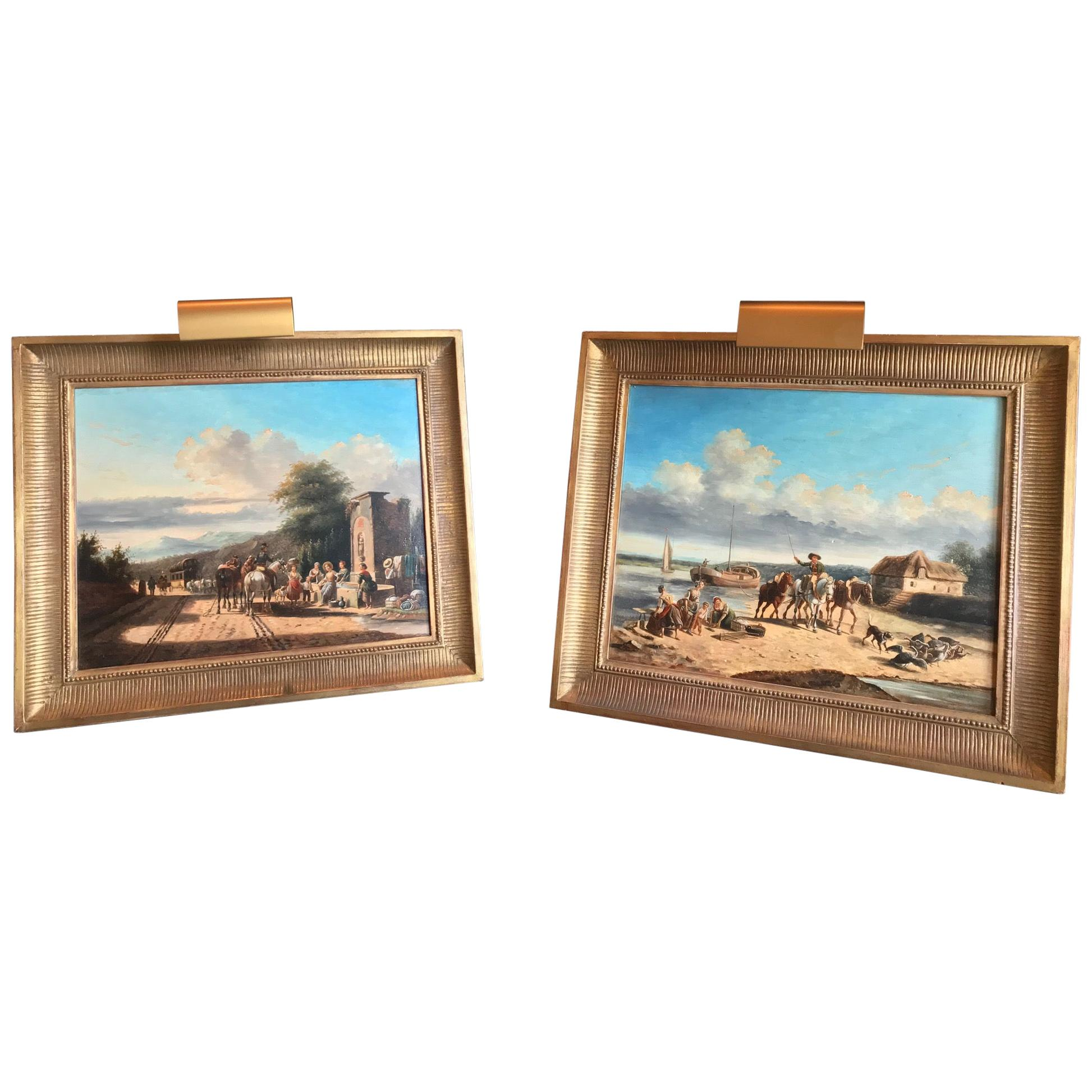 Oil Paintings by Philippe Budelot French, 1770-1829 Old Master Landscapes, Pair