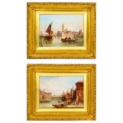 Pair Oil Paintings San Marco & Santa Maria Venice Alfred Pollentine 19th C