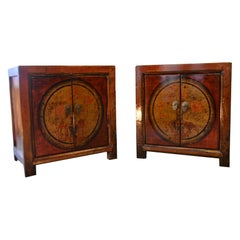 """Pair of Old Chinese Red Lacquer """"Scholar's"""" Cabinets"""