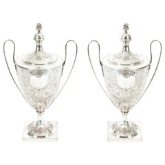 Pair Old English Plated Trophy Cup / Covered Urns