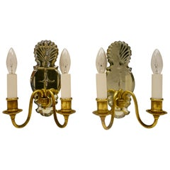 Pair Old English Style Two-Light Sconces with Mirrored Backplates