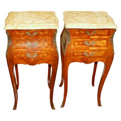 Pair Old French Marquetry Inlaid Kingwood Louis XV Marble Top Bedside Tables