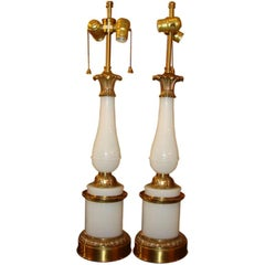 Pair Opaline And Gilt Bronze Lamps