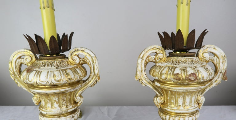 Pair or French Carved Urn Lamps with Parchment Shades In Distressed Condition For Sale In Los Angeles, CA