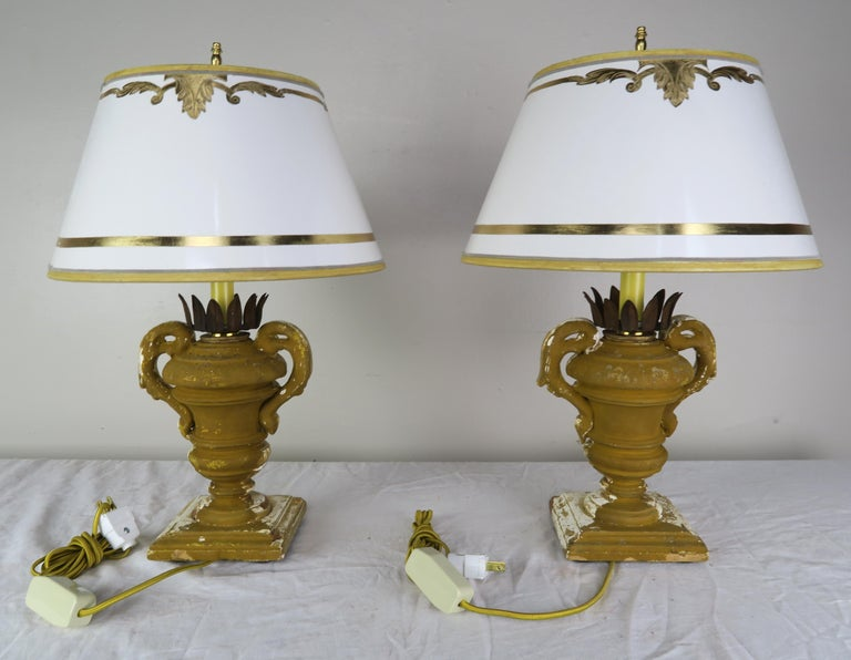 Mid-20th Century Pair or French Carved Urn Lamps with Parchment Shades For Sale