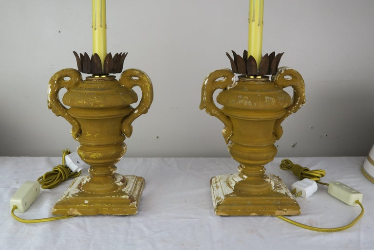 Gold Leaf Pair or French Carved Urn Lamps with Parchment Shades For Sale