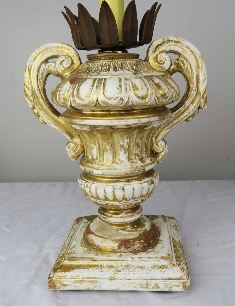 Pair or French Carved Urn Lamps with Parchment Shades For Sale 1