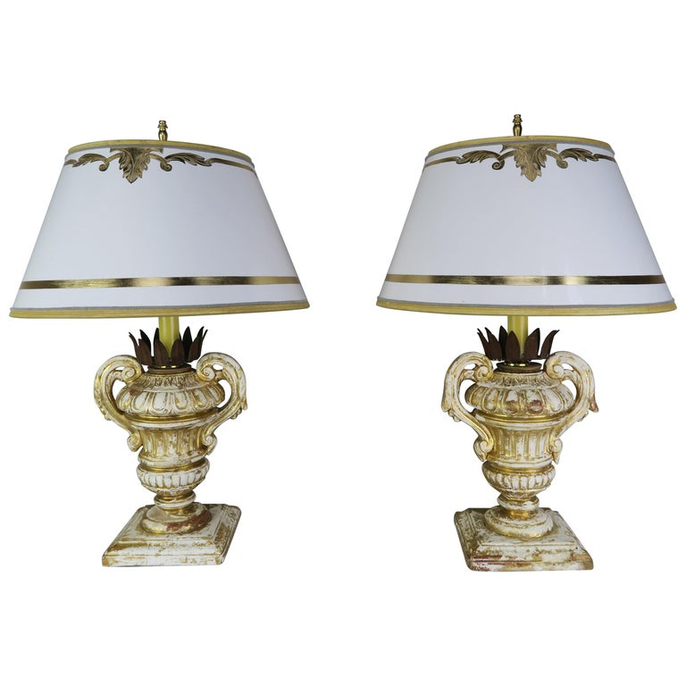 Pair or French Carved Urn Lamps with Parchment Shades For Sale