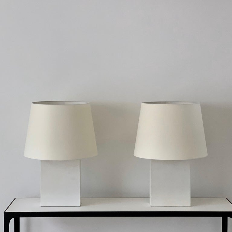 Pair of large 'Bloc' parchment table lamps by Design Frères.