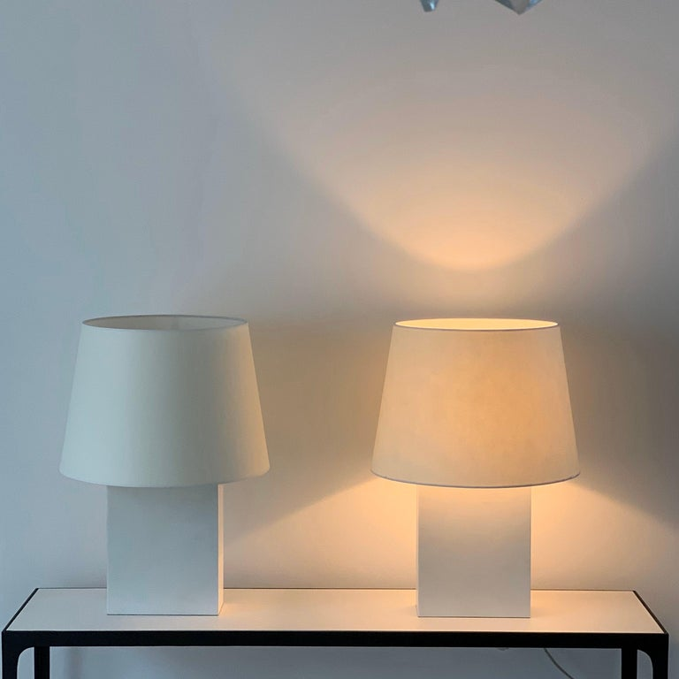 French Pair or Large 'Bloc' Parchment Table Lamps by Design Frères For Sale