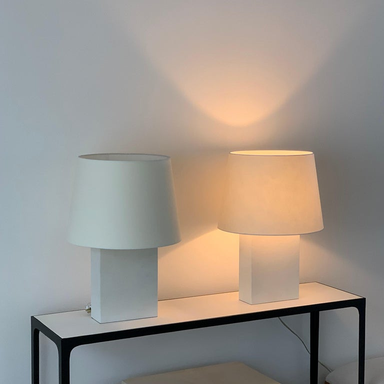 Pair or Large 'Bloc' Parchment Table Lamps by Design Frères In New Condition For Sale In Los Angeles, CA