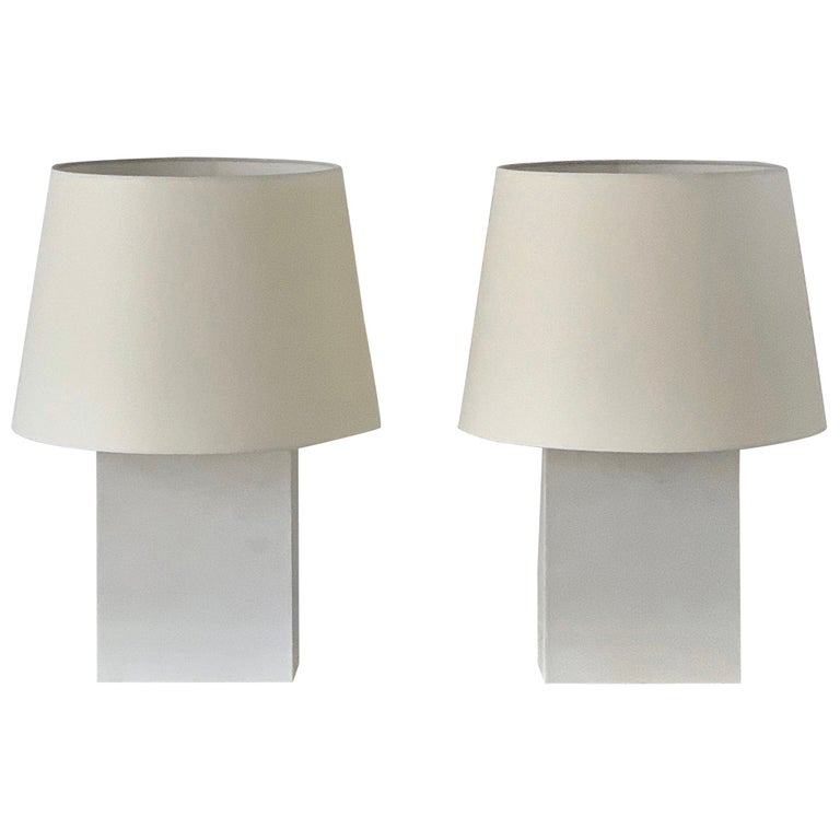 Pair or Large 'Bloc' Parchment Table Lamps by Design Frères For Sale