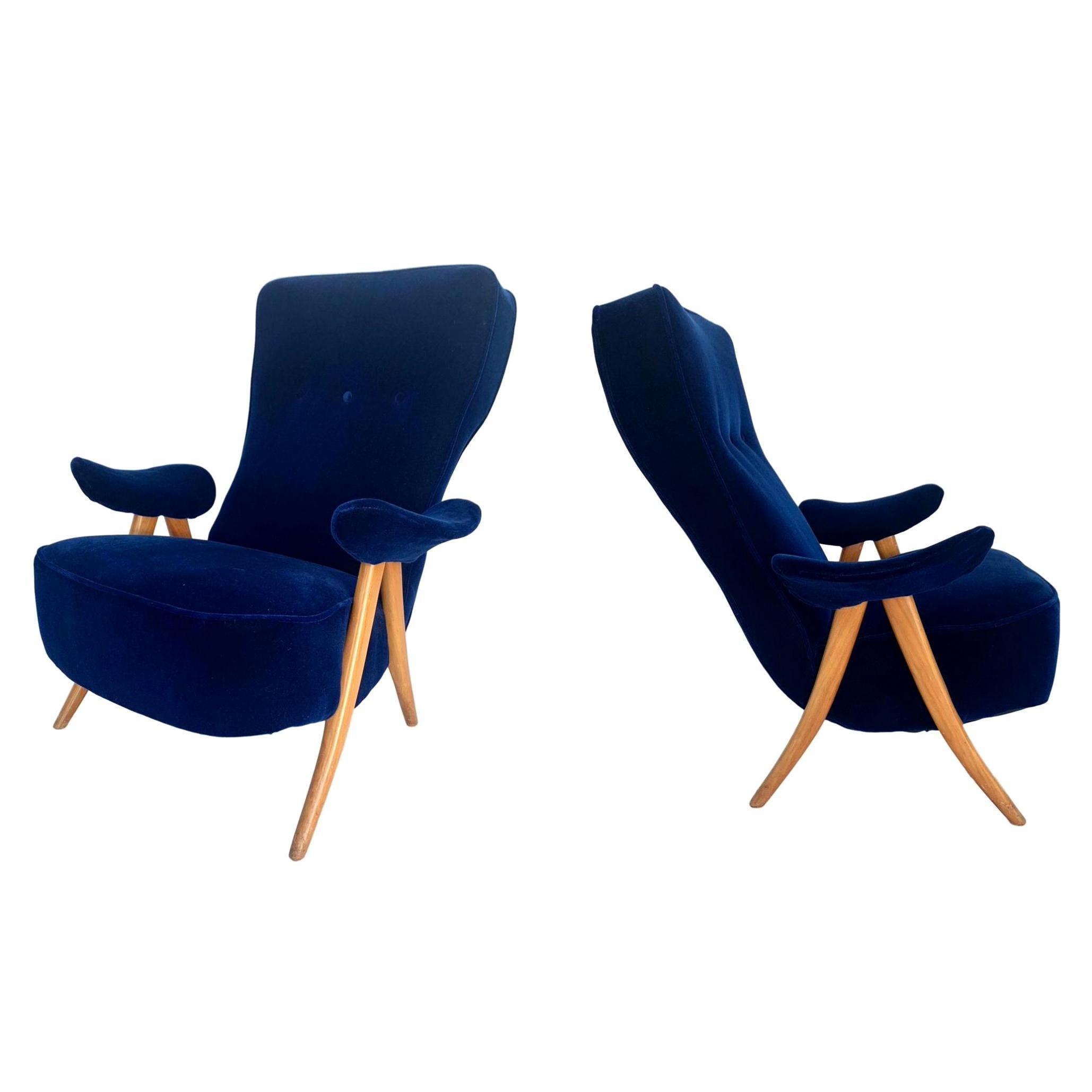 Pair or Sculptural Italian Chairs