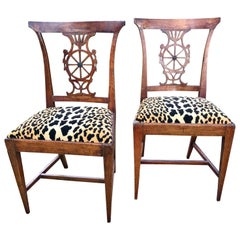 Pair or Set of Italian Neoclassical Chairs in Shallow Klismos Form