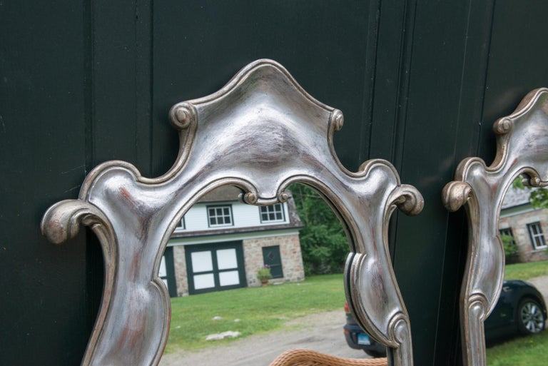 Italian Pair or Single 1950s Silver Gilt Mirrors For Sale