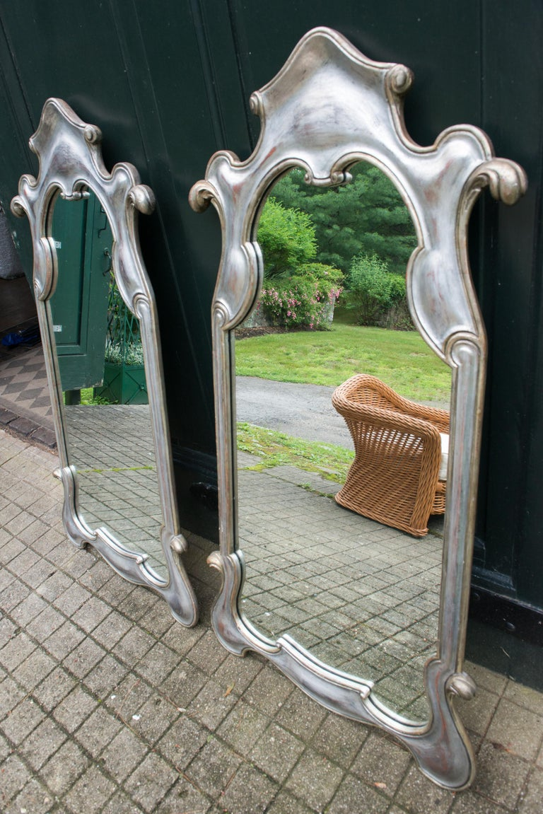 Pair or Single 1950s Silver Gilt Mirrors For Sale 1