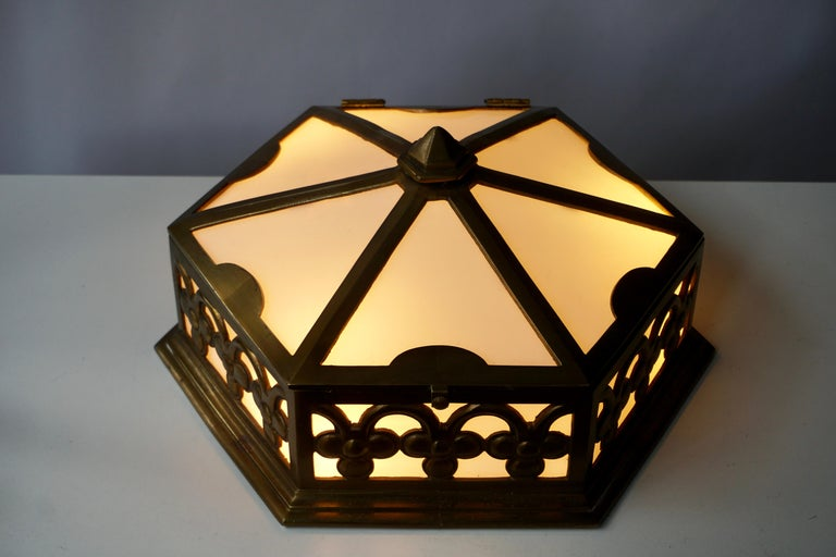 Pair or Single Art Deco Hexagonal Bronze and Plexiglass Flush Mount, Belgium For Sale 5
