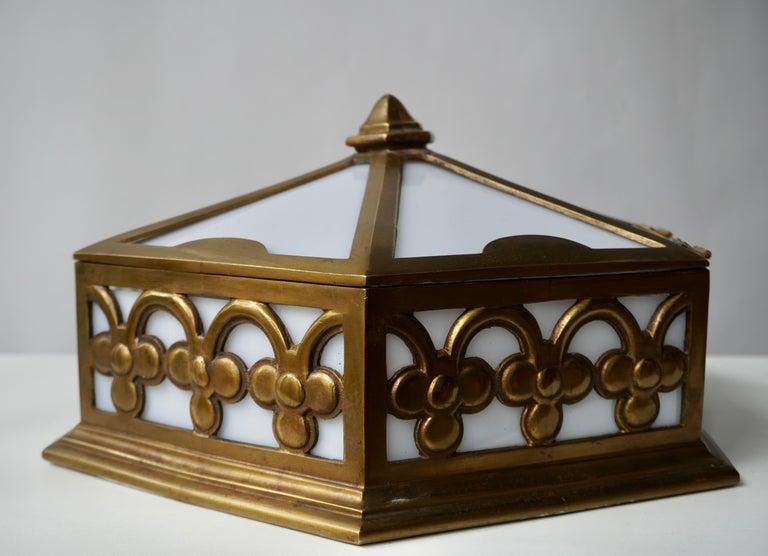 Belgian Pair or Single Art Deco Hexagonal Bronze and Plexiglass Flush Mount, Belgium For Sale