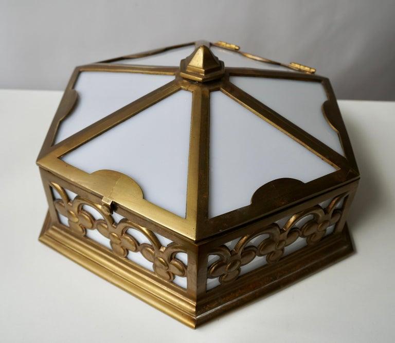 Pair or Single Art Deco Hexagonal Bronze and Plexiglass Flush Mount, Belgium In Good Condition For Sale In Antwerp, BE