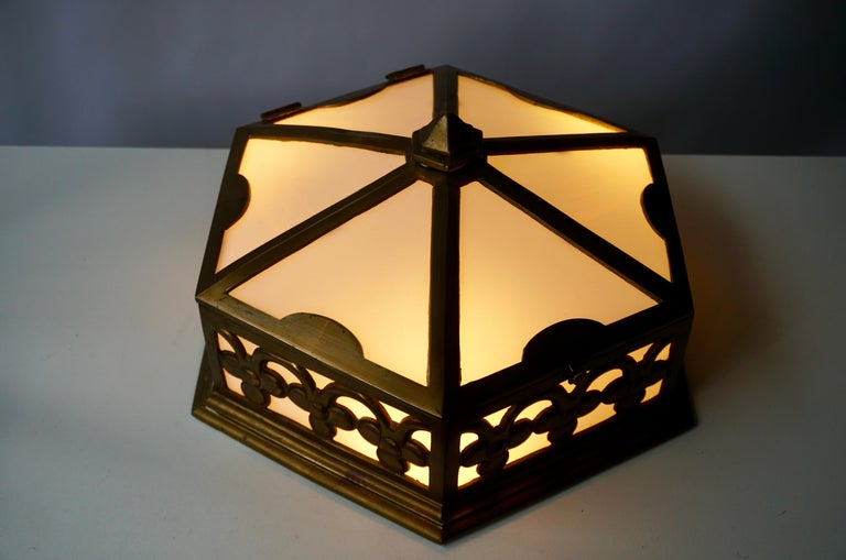 20th Century Pair or Single Art Deco Hexagonal Bronze and Plexiglass Flush Mount, Belgium For Sale